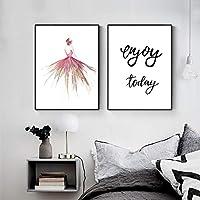 キャンバス上の壁の芸術の絵画現代アートワークポスター抽象的な踊る少女と引用符少女の部屋の装飾のための印刷画像(70x90cm)2pcsフレームレス