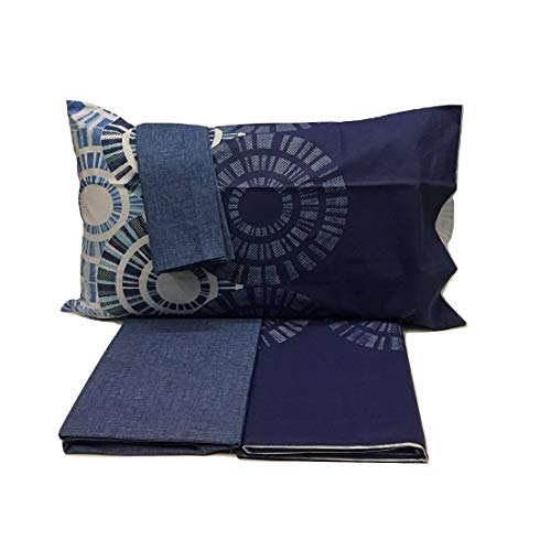 Bassetti Bettlaken Einzelbett Abstract 2 Reine Baumwolle Made in Italy Singola blau