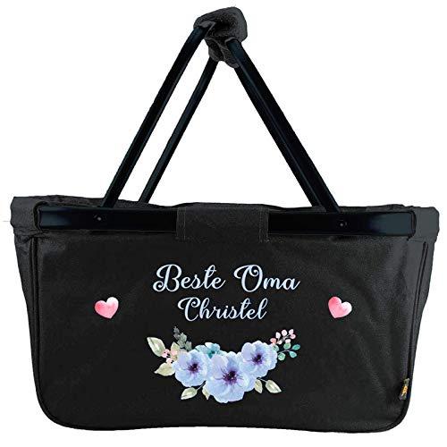Mein Zwergenland faltbarer Einkaufskorb Beste Oma mit Name personalisierbar, Korb klappbar 28 L, Faltkorb mit Blumenmuster schwarz