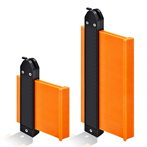 "Contour Gauge Duplicator with Lock, GOXAWEE Widen Shape Duplication Gauge Tool 5""& 10"", 2 Pack Master Outline Measuring Plastic Ruler for Corners, Woodworking Templates, Tiles and Laminate (Orange)"