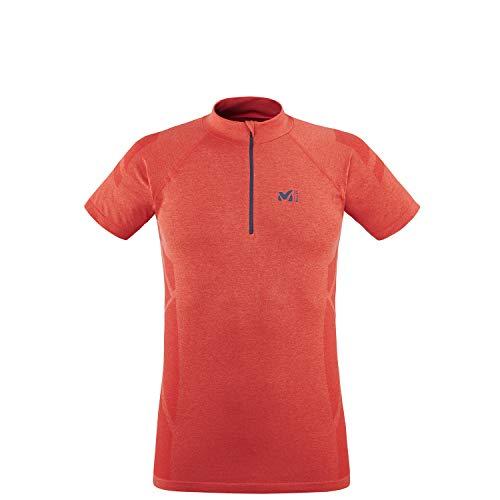 MILLET Ltk Seamless Light Zip SS T-Shirt, Fuoco (Fire), X Small Uomo