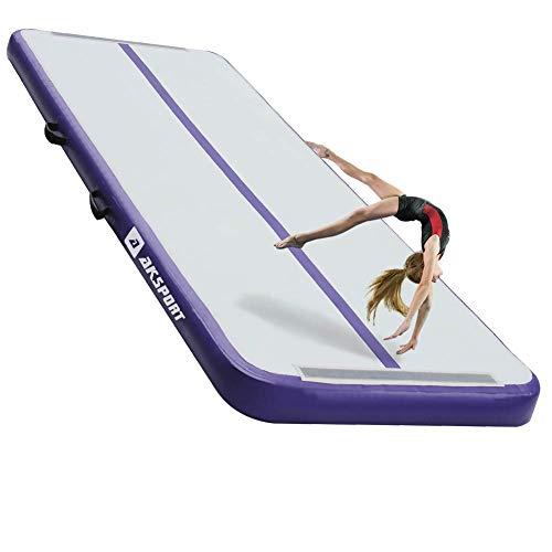 AKSPORT Air Track - Tapete hinchable con bomba de aire eléctrica para uso doméstico, tumbona, gimnasio, entrenamiento, animadora, Púrpura, 10x3.28x0.33ft