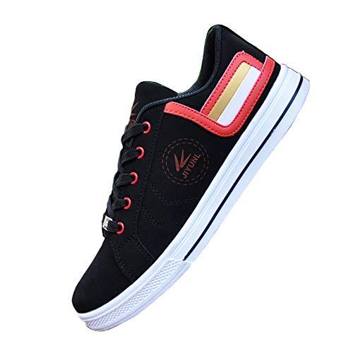 Zapatos de deporte de los hombres zapatos de lona con cordones para arriba zapatos de monopatín de estudiante casual, color Negro, talla 39 1/3 EU