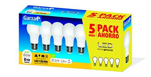 Garza ® - Bombilla Led estándar Garza E27 9W, luz neutra cálida de 3000K, 810 lúmenes y ángulo de 240° no regulable - 5 unidades