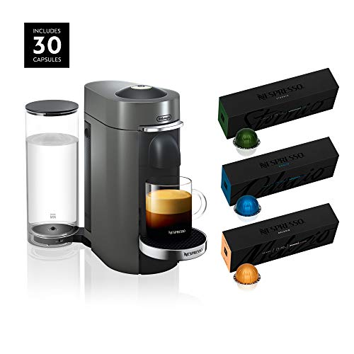 Nespresso VertuoPlus Deluxe Coffee and Espresso Machine by De'Longhi, Titan, with Best Selling Vertuoline Coffees Included