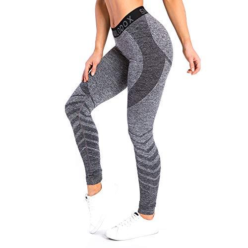 SMILODOX Sport Leggings Damen \'Vira\' | Seamless - Figurformende Tight für Fitness Gym Yoga Training & Freizeit | Sporthose - Workout Trainingshose, Farbe:Anthrazit, Größe:S