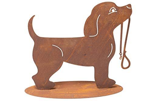 Manufaktur-Lichtbogen Rost Gartenfigur Hund mit Hundeleine Edelrost Gartendekoration Metall
