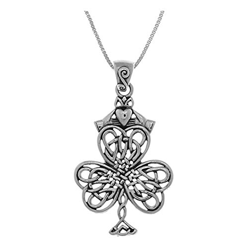Trends Sterling Silver Celtic Shamrock & Irish Pendant On 18 Inch Necklace Suitable Men Ladies Birthday Gifts