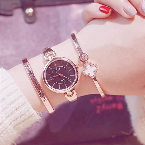 TCEPFS 3 unid Reloj Mujer Marcas Famosas Relojes de Pulsera de diseño de Moda Dorada Relojes de Pulsera para Mujer Relogio FemininosGold 3pcs Set