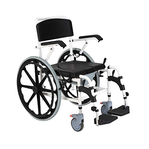 "HomCom Rolling Shower Wheelchair Bath Toilet Commode Bariatric with 24"" Wheels, Detachable Bucket & Shower-Proof Design"
