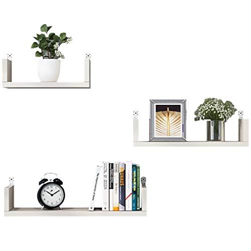 Wandplank, set met 3 verschillende maten, zwemplank van hout in U-vorm verkrijgbaar in zwart, wit, wandplank, decoratief wandrek om op te hangen, afbeelding Een