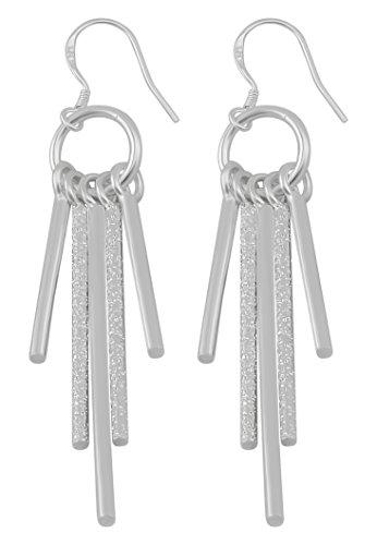 Hanessa zilveren staafje oorbellen verzilverd ring cirkel staafjes damessieraad