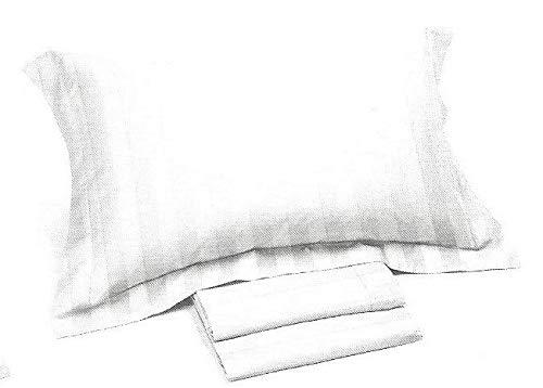 Caleffi Completo Lenzuola matrimoniali Linea Hotel in Puro Raso di Cotone Rigato 300TC (Thread Count, 300 Fili al Pollice Quadrato) col. Bianco qualità Superiore Art. 77426