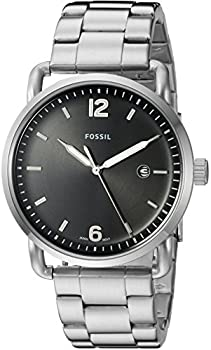 Fossil Commuter Stainless Steel and Leather Casual Quartz Men's Watch