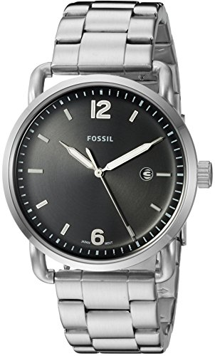 Fossil Men's 'The Commuter' Quartz Stainless Steel Casual Watch, Color:Black/silvertoned (Model: FS5391)
