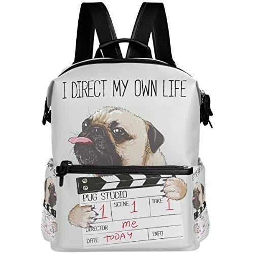 Oarencol Rucksack mit lustigem Mops-Motiv, niedliches Tiermotiv, für Schule, Reisen, Wandern, Camping, Laptop, Tagesrucksack