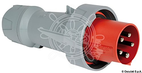 Mennekes 101200115 Power Top Plus CEE-stopcontacten, 400 V, 50-60 Hz, 63 A, 5-polig, IP 67, rood