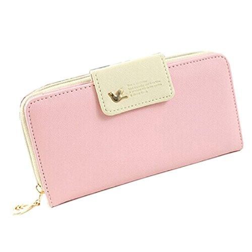 Malloom Le donne lungo portafoglio portafogli mano, caso cerniera con slot per schede, supporto di carta, in vendita(Rosa)