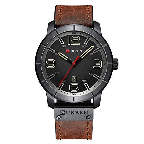 Relojes De Pulsera Simples para Hombres Reloj con Calendario Brazalete De Cuarzo Analógico Correa De Cuero Y Diales Impermeables