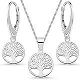 G.H. Baum des Lebens Set Kette Anhänger Brisur Ohrringe aus 925 Sterling Silber Damen Frauen Lebensbaum (38)