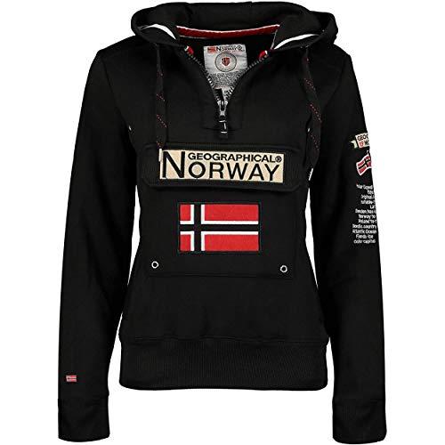 Geographical Norway GYMCLASS LADY - Sudadera Mujer Bolsillos Kangaroo - Sudadera Caliente Mujer - Suéter Abrigos Manga Larga - Hoodie Tops Casual Abrigo Estilo NEGRO XL - TALLA 4
