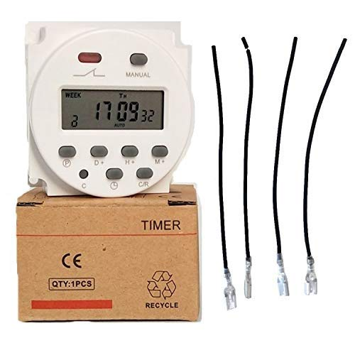 12V 16A Timer Switch Programmable Digital 12 Volt DC/AC/Solar Battery Powered Seven Day Heavy Duty Support 17-times Daily Weekly Program (Indoor)