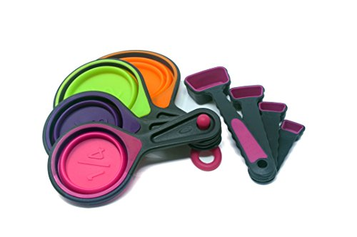 Collapsible Measuring Cups and Measuring Spoon Set - 8 Piece Food Grade Silicone Measurement Cup for Liquid