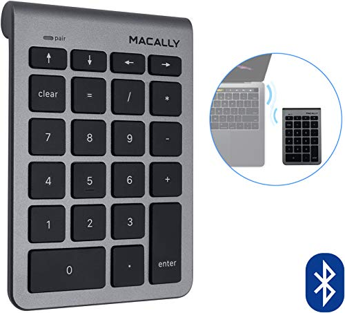 Macally 22 Keys Bluetooth Wireless Number Pad for Laptop and Desktop -10 Key Bluetooth Numeric Keypad with Arrow Keys for Easy Data Entry - Number Keypad for MacBook Pro Air, iMac, Apple, iPhone, iPad