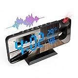 ShinePick Sveglia con Proiezione, Radiosveglia FM Digitale da Comodino con Proiettore 180°, con Adattatore e USB, 4 Livelli di Luminosità Doppio Allarme, Snooze 12/24H, per Camera da Letto, Soggiorno
