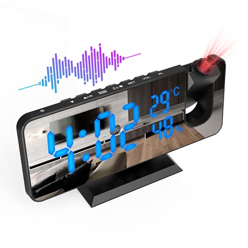 ShinePick Wecker Digital mit Projektion, Projektionswecker mit Radio USB Anschluss Snooze Dual-Alarm 7