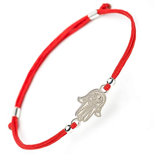 Hamsa Hand of Fatima Silver Bracelet - Evil Eye Protection Sterling Silver Charm Jewelry Lucky Success Pendant Black Red String Rope Adjustable Friendship Handmade Bracelet Men Women (red)