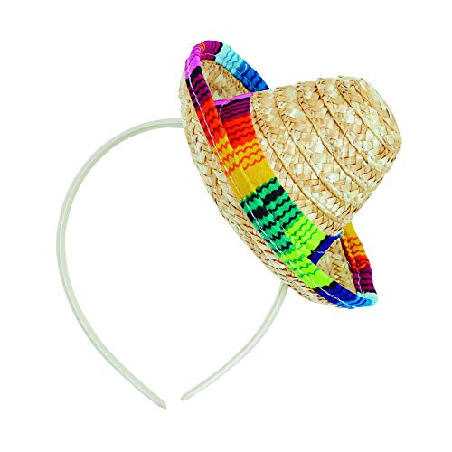 Bristol Novelty BH693 Sombrero Straw Mini Op Hoofdband, Mannen, Vrouwen, Multi-Colour, One Size