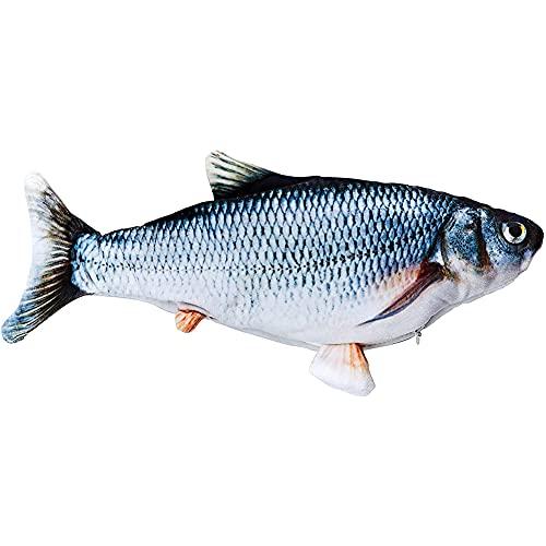 Flysee Hierba gatera Eléctrica Juguete Pez para Gato, Peluche de Juguete eléctrico de simulación Fish con Carga USB, Mascotas Interactivo de Felpa Pez para morder, Masticar, patear y Dormir