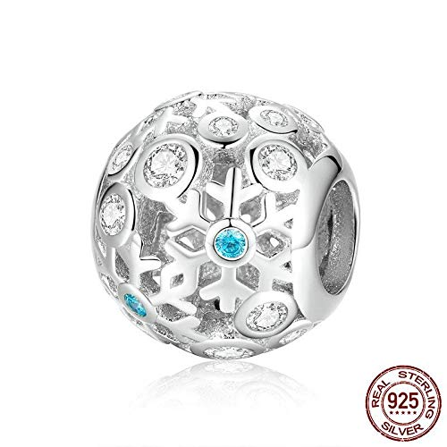 MZNSQB Winterkollektion Echte 925er Sterling Silber Schneeflocken Winter Perlen Fit Charm Armbänder & Armreifen Schmuckherstellung