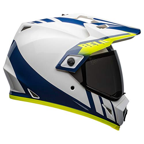 Bell MX-9 Adventure MIPS Dirt Helmet (Dash Gloss White/Blue/Hi Viz - Large)