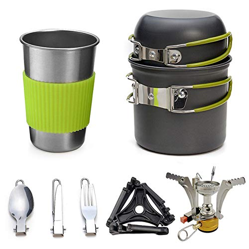 Heerda Camping Mess Kit Aleación de Aluminio Outdoor Camping Trip Utensilios de Cocina Camping Pot Senderismo Picnic Vajilla turística Set