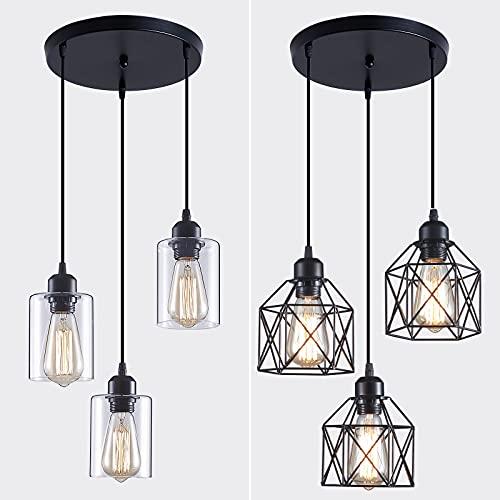 Zhu YAN 3-Light Cluster Pendant Light,Farmhouse Pendant Lighting Kitchen Light Classic Clustered Chandelier Hanging Light with Adjustable Hanging Light Fixtures