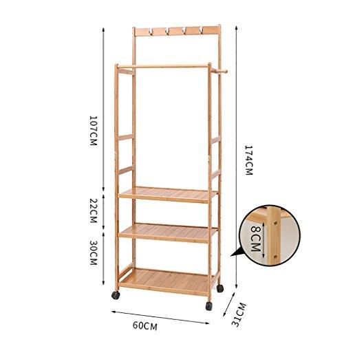 Manteau rack étage chambre séchage supports bambou simple solide bois salon vêtements rack cintres