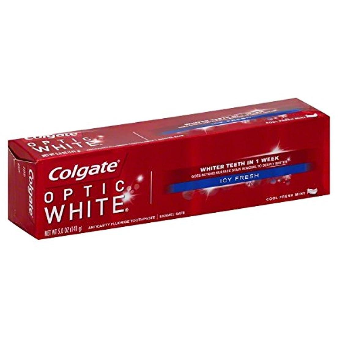労働者泣き叫ぶ皮Colgate オプティックホワイトハミガキ、アイシー新鮮な、5オンス(6パック)