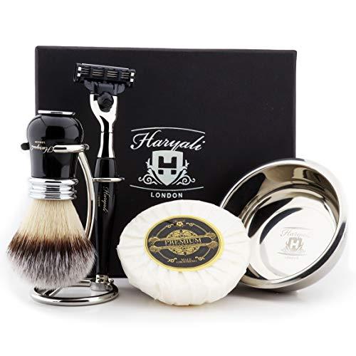 Haryali London Luxe Zwarte Heren Scheerset 3 Rand Scheermes met Synthetische Badger Haar Scheerborstel, Standaard, Zeep en Bowl Perfect Gift Set voor Mannen