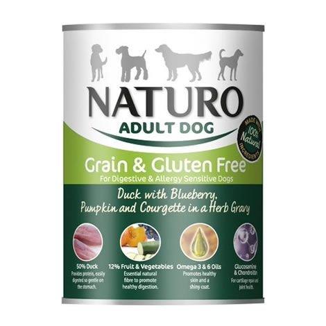 Naturo - Cibo per Cani Adulti Grain & Glutem Free con Anatra, Mirtilli, Zucca e Zucchine in Salsa di Erbe - Pacco da 12 x 390gr - Totale 4680gr