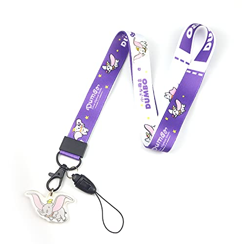Dumbo Elephant Cartoon Print Anime Lanyard Key Chain Neck Strap Retractable Reel Clip with Lobster Carabiner for Fans,Keychain, ID Badge Holder, Cell Phone, and Charms Neck Strap (Dumbo-Lay)