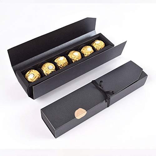 Geschenkbox 10 Stücke Schokolade Box Gefälligkeiten Rot Schwarz Für Schmuck Kraft Süßigkeiten Papier Box Hochzeitsgeschenk Verpackung Kreative Kunst Handwerk Diy Einfach Zu Packen Schwarz 24X6X4 Cm