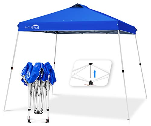 EAGLE PEAK 11' x 11' Slant Leg Pop Up Canopy Tent Instant Outdoor Canopy Easy Single Person Set-up Folding Shelter with 81 Square Feet of Shade (Blue)