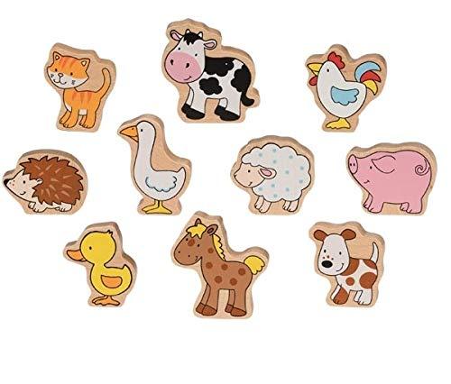 Goki 53820 Bauernhoftiere Comic-Style bunt 10-teilig aus Holz