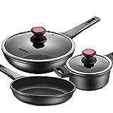 Batería de Cocina Instrucciones de 5 piezas de utensilios de cocina compatibles con la inducción Profesional de utensilios de cocina antiadherente Lavavajillas Potes y sartenes Set para el restaurante