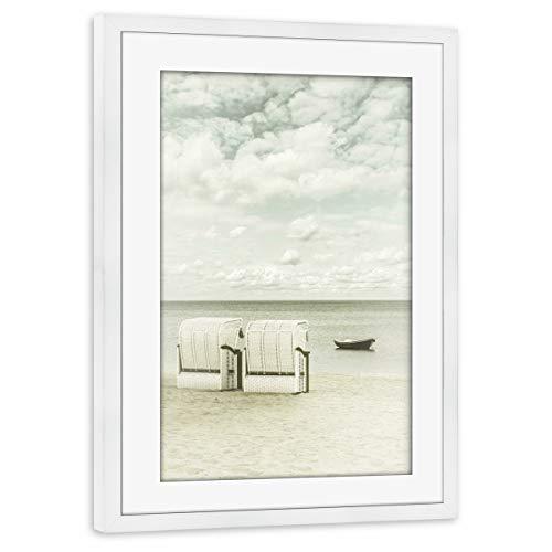 artboxONE Poster mit Rahmen weiß 45x30 cm SIERKSDORF Blick auf die Ostsee von Melanie Viola - gerahmtes Poster