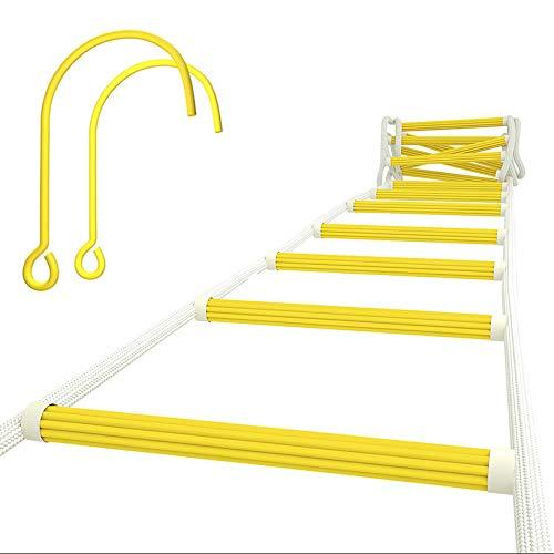 ISOP Escalera de Incendios Para Ventanas de Segundo Piso - Escalera de Cuerda de Seguridad Resistente al Fuego de 4 m (13 pies) con Ganchos - Capacidad de Peso de Hasta 900 kg