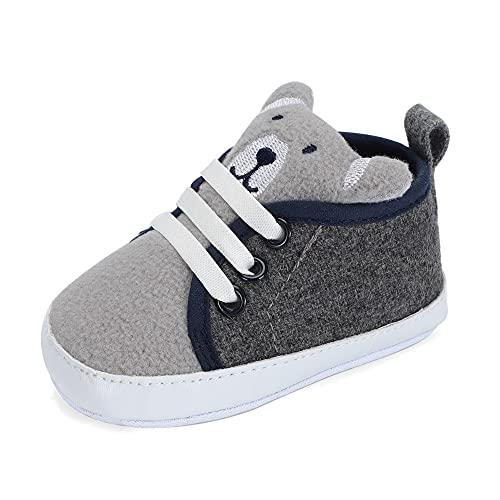 LACOFIA Sneaker Bambino Scarpe Primi Passi con Suola Morbida Antiscivolo per Neonato Grigio 3-6 Mesi
