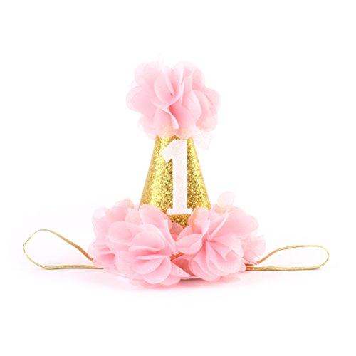 Frcolor Baby Geburtstag Haarband Mädchen Stirnband Hut Kopfschmuck Partyhüte Dekoration für 1 Jahr Geburtstag (Rosa)
